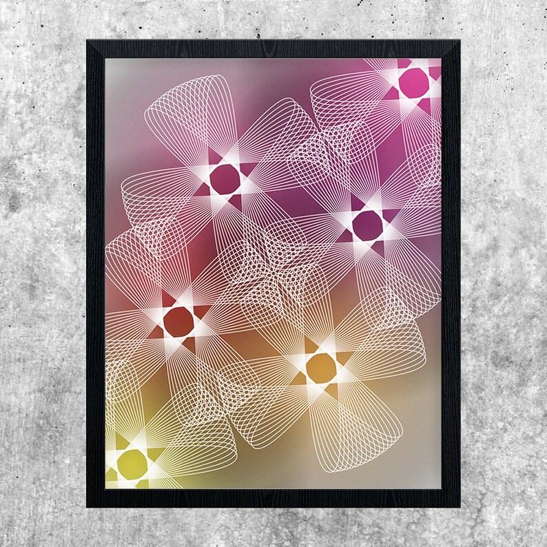 Geometric Art Print Modern Poster Yellow Orange Red Pink image 0