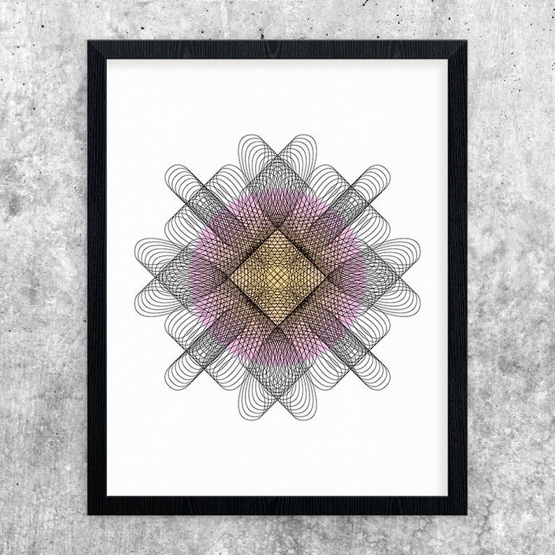 Pink & Orange Modern Art Geometric Printable Art Digital image 0