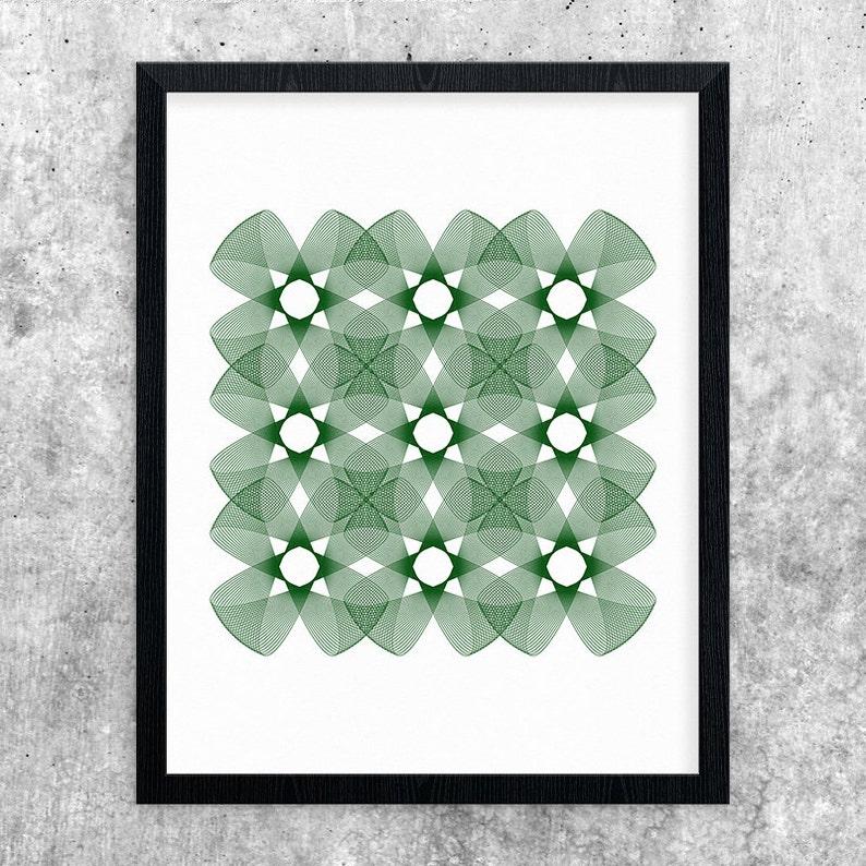 Green Art Geometric Printable Minimalist Print Abstract Art image 0