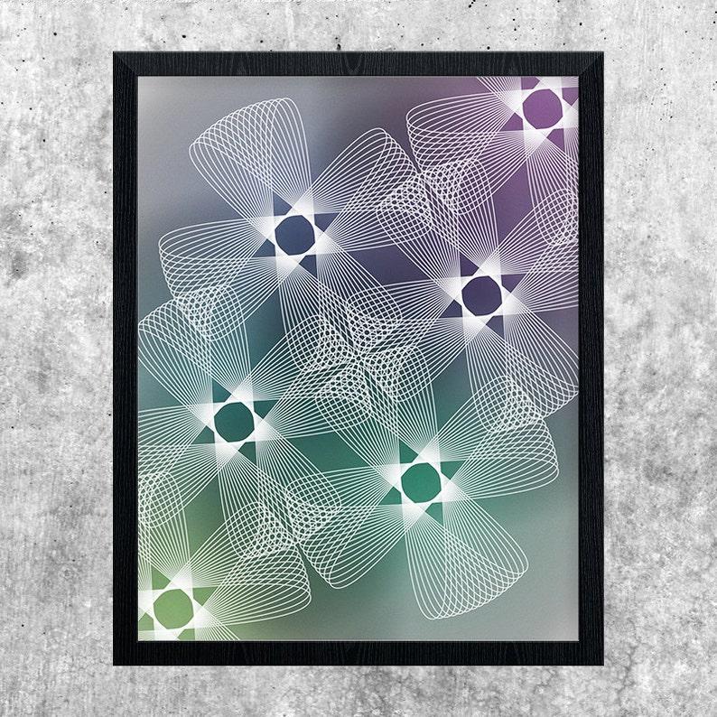 Abstract Gradient Art Green Blue Teal Purple Geometric image 0
