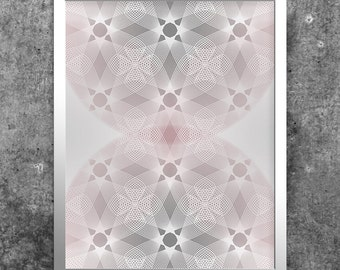 Pink & Grey Geometric Art, Digital Download, Modern Printable, Abstract Art Poster, Contemporary Wall Art, Home Decor, Minimalist Print