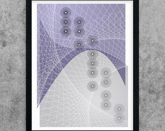 Geometric Printable Art, Purple & Grey Abstract Art Print, Modern Wall Art, Minimalist Art, Instant Download, Digital Print, Poster Art