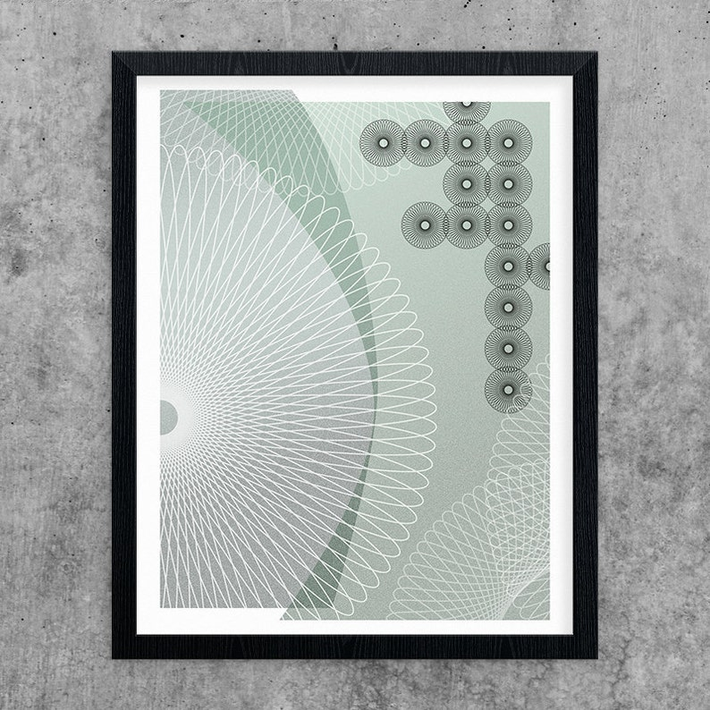 Spirograph Art Instant Download Printable Art Green & Grey image 0
