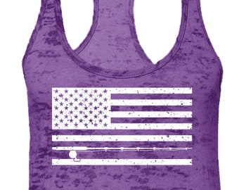 248e2ba2 Fishing Pole American Flag Ladies Burnout Racerback Tank Top -Freedom Boat  Merica Bait Friends Family Drinks Relax Gift Love -DT-01523