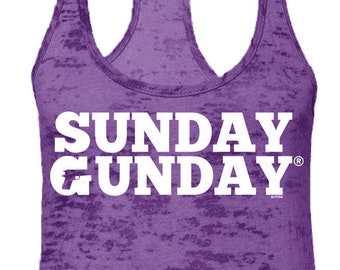 b974bc5b54d Sunday Gunday Burnout Razorback Tank Top -Target Practice Bullets Guns  Riffle Ammo Gift Present Funny Girlfriend Boyfriend -RS-00814