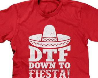 34a852aee DTF Down To Fiesta Mens Short Sleeve T-shirt - Cinco de Mayo BeerTequilla  Funny Humor Joke Pun Parody Word Play - DT-00219