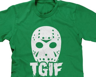 6e82e618 Jason Mask - TGIF Mens Short Sleeve -Halloween October Scary Movie Funny  Humor Costume Funny Humor Teenager Gift -DT-01920