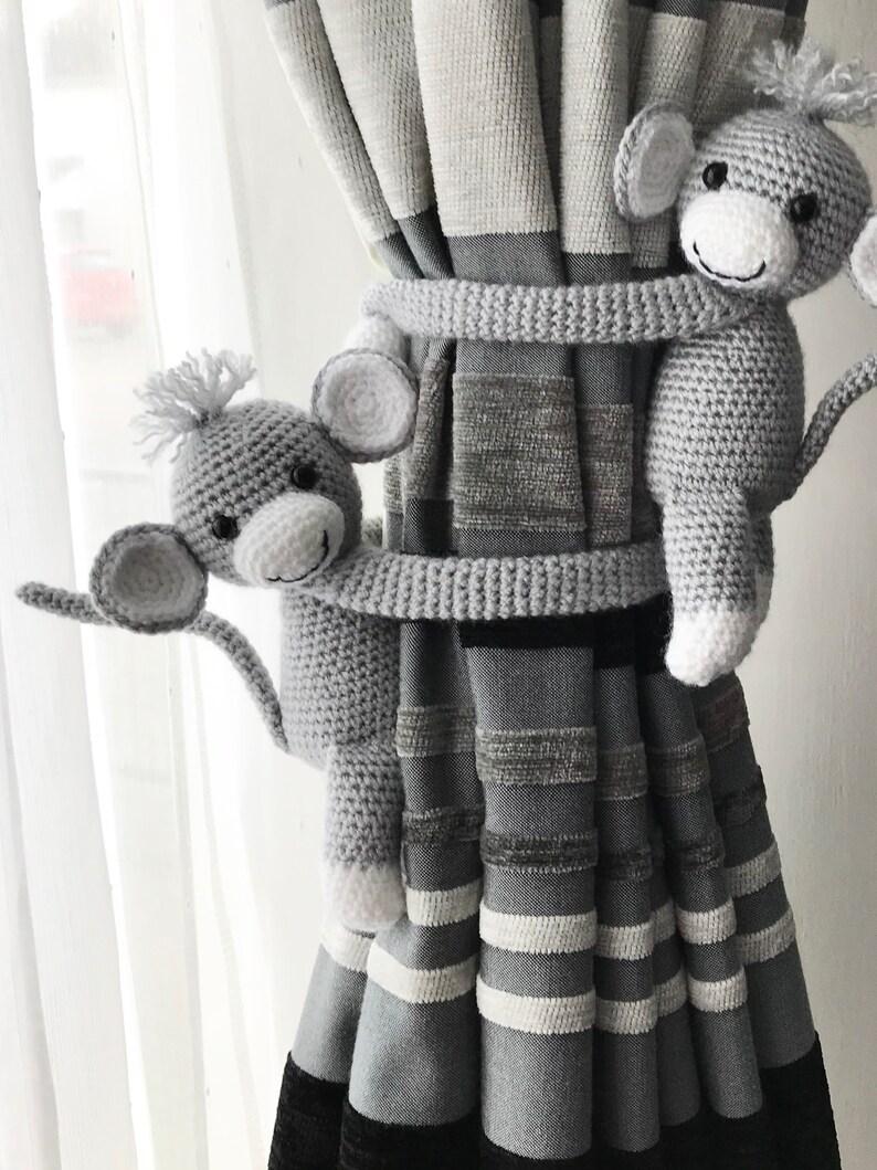 Baby room curtain decoration Crochet curtain ties Baby shower gift. Animal curtain tiebacks Grey Monkey curtain tiebacks