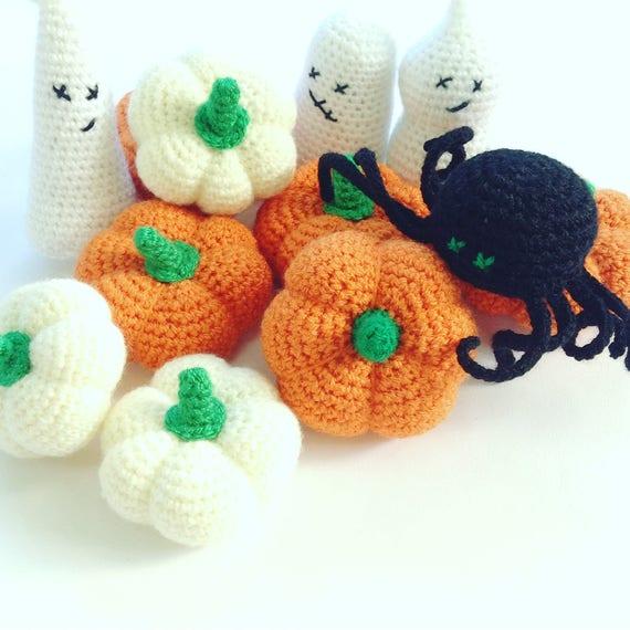 Halloween Decoraties Set Van 3 Haak Pompoen Amigurumi Ghost Etsy