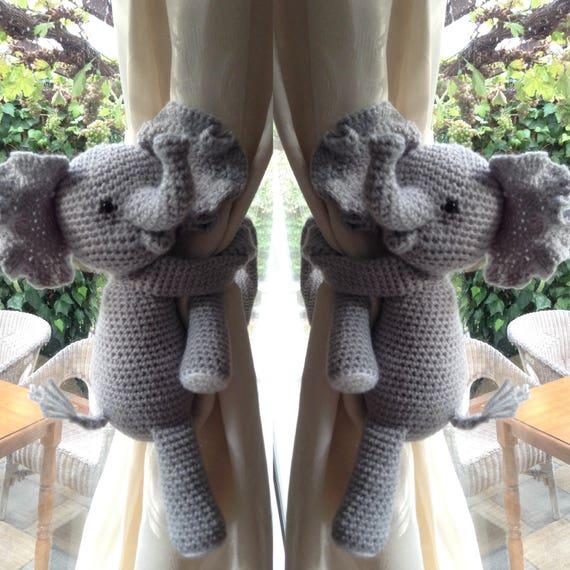 A Pair Of Elephant Nursery Curtains Tie Backs Nursery Etsy