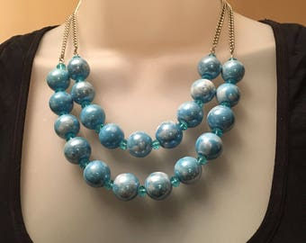 Aqua Blue and White Swirl Ceramic Beaded Necklace w/Blue Crystal Beads