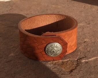 Upcycled Leather Belt Cuff Bracelet