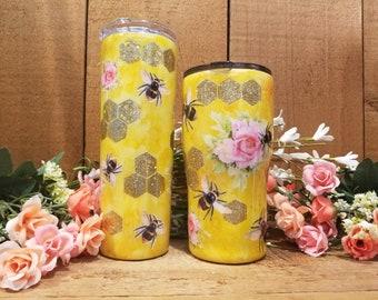 Mother's Day Bee Tumbler, Honey Bee Tumbler, Golden Honey Tumbler, Roses, Bees, Sunflowers,  Garden Lover, Bee Lover,