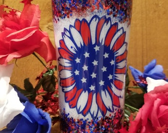 Customizable 4th of July Tumbler, Flag Sunflower, 4th of July Sunflower, Cold drinks, Beer Tumbler, Lemonade Tumbler, Patriotic Tumbler