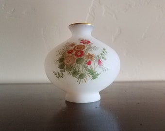 Frosted White Vase with Gold Trim and Hand Painted Flowers - JAPAN