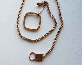 Gold Tone Rope Style Pocket Watch Chain