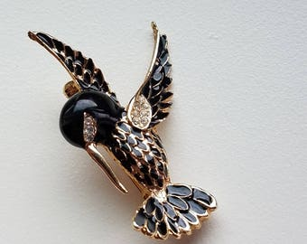 Black Enamel and Rhinestone Hummingbird Brooch