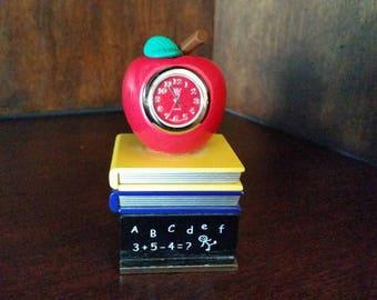 Miniature Apple on Books Clock