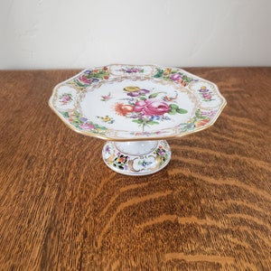 6 38\u201d Wide Schumann Reticulated Compote with Pink Flowers