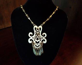 Gold Tone Enamel Necklace