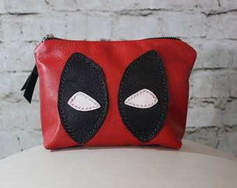 Leather pouch, travel bag, toiletry bag, Deadpool - Made To Order