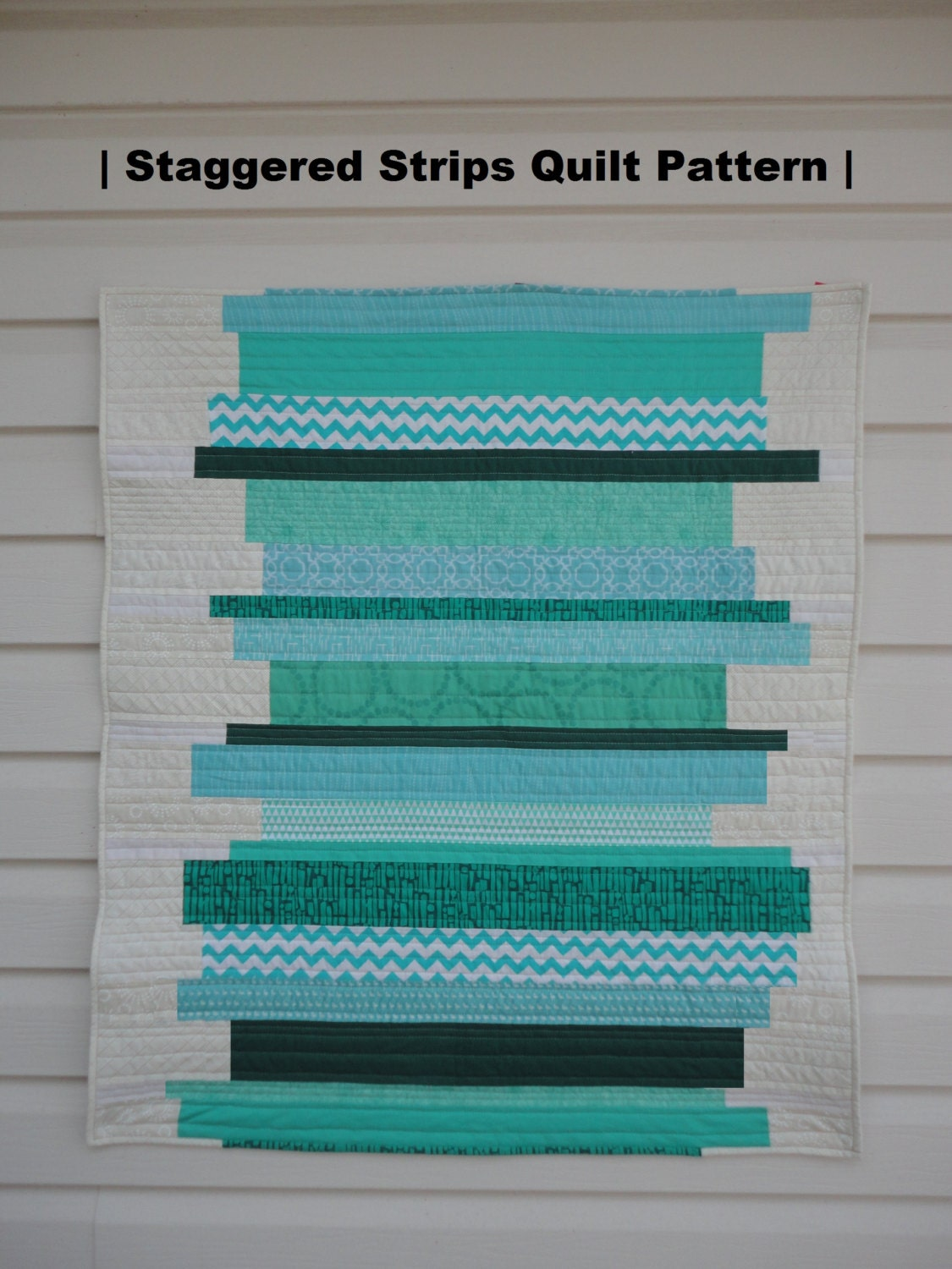 Staggered Strips Modern Baby Quilt Pattern Easy Downloadable | Etsy