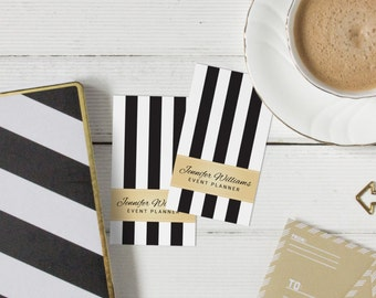 Faux Gold Black And White Stripes Vertical Business Cards Template PSD