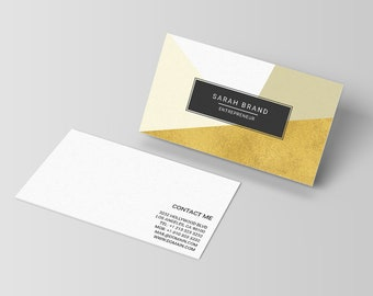 Modern business cards template freelance writers business etsy modern business card template contemporary business cards geometric design photoshop template calling card psd instant download wajeb Image collections