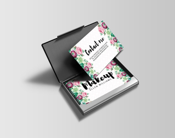 Floral flower business cards and referral refer a friend card etsy floral flower business cards and referral refer a friend card templates psd instant download makup artist event planner flower shop colourmoves