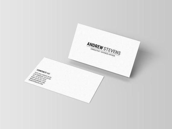 Minimalist Business Card Template Minimal Business Card Etsy