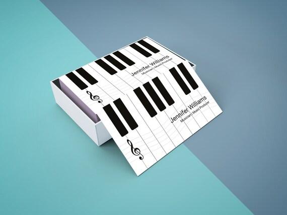 Klavier Visitenkarte Vorlage Musik Lehrer Visitenkarten Musiker Visitenkarte Vorlagen Schwarz Und Weiß Design Digital Download