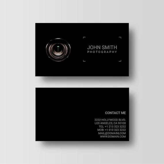Fotografie Visitenkarte Vorlage Schwarze Fotograf Visitenkarten Schwarze Telefonkarten 3 5 X 2 Kamera Objektiv Design Digital Download