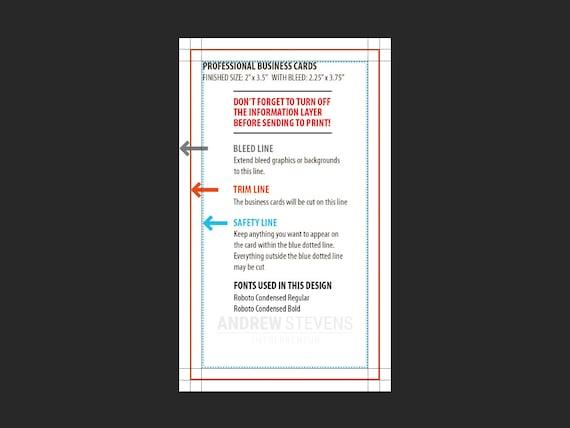 Minimalist Business Card Template Professional Minimal Business Cards Vertical Calling Card Design Digital Download