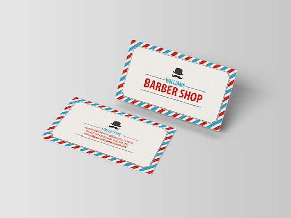 Barbershop business card template classic barber shop etsy image 0 accmission Choice Image