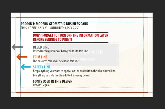 Modern Business Card Template Contemporary Business Cards Geometric Design Photoshop Template Calling Card Psd Instant Download