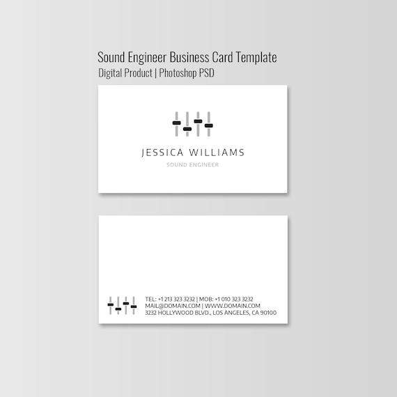 Klingen Ingenieur Visitenkarte Vorlage Minimalistischen Visitenkarten Für Audio Techniker Minimale Photoshop Design Sofort Download Psd