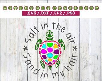 Salt In The Air Sand In My Hair Sea Turtle Summer Fun Vacation Ocean Sun - svg dxf eps png clipart cut print cricut silhouette cuttable file