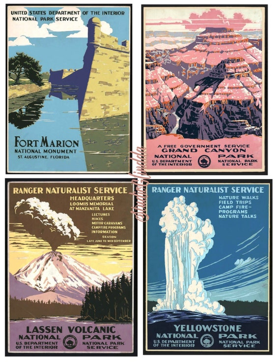 Wpa Posters National Park Serviceart Deco 1930s Travel Etsy