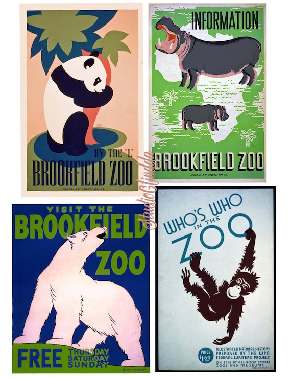 VINTAGE BROOKFIELD ZOO POLAR BEAR ADVERTISING A2 POSTER PRINT