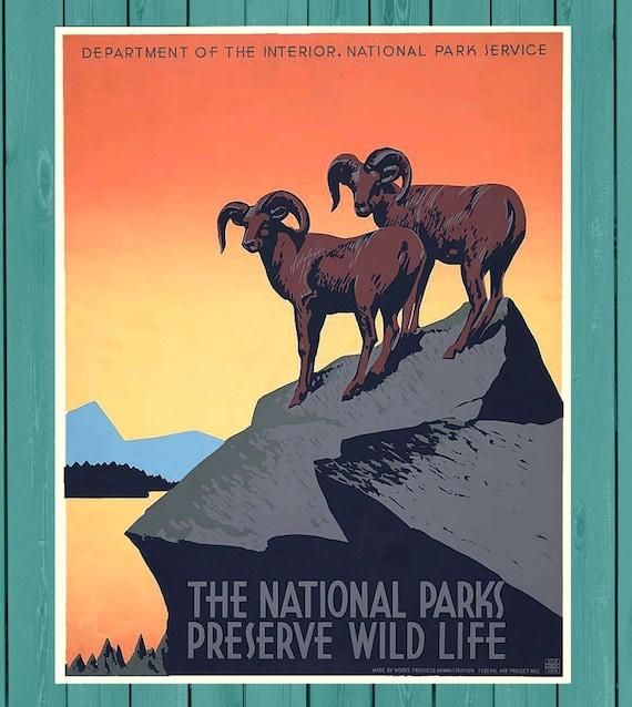 WPA Vintage Old West WPA Art Cowboy Poster Art Log Cabin Art National Parks Department Printable Vintage 1930/'s Poster Silk Screen