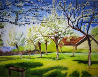 "Apple trees in Bloom. Mothers day gift. Valentines day gift. Original Oil Painting. Landscape Painting. Home Decor. 18""x 24"", 46 x 61 cm."