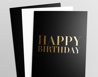 Elegant Gold Foil Black Birthday Card