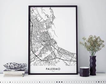 Palermo Sizilien Italien Stadtplan Drucken Wand Kunst Poster Etsy