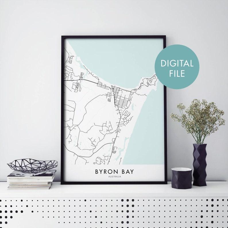 Digital Download File Print At Home Byron Bay Australia City Map Print Wall Art New South Wales
