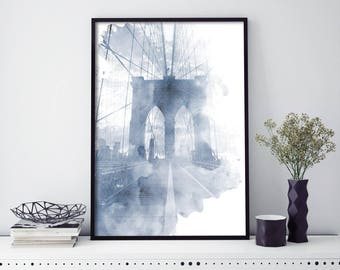 Brooklyn Bridge, New York Watercolour Print Wall Art | 4x6 5x7 A4 A3 A2
