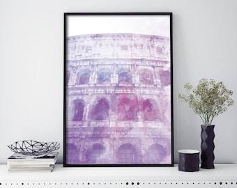 Colosseum, Rome, Italy Watercolour Print Wall Art | 4x6 5x7 A4 A3 A2