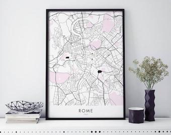 Rome Italy Art, City Map Print Wall Art | A4 A3 A2 A1