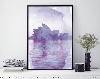 Sydney Opera House Watercolour Print Wall Art | 4x6 5x7 A4 A3 A2