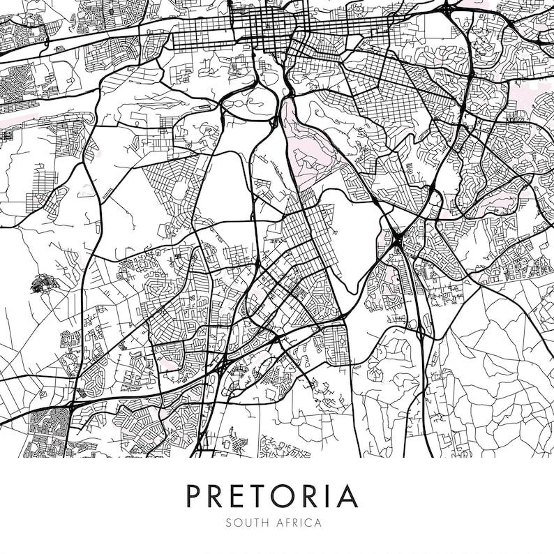 PRETORIA Map Print South Africa Wall Art Poster City Map Wall Decor A3 A2 A1