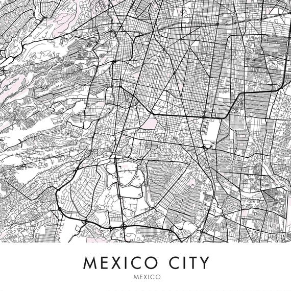 Mexico City Art, City Map Print Wall Art | A4 A3 A2